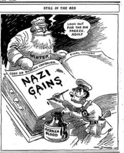 """Old Man Winter,"" Carl Sendal's Editorial Cartoon, p. 12"